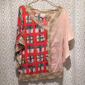 Anthropologie Vanessa Virginia M geometric blouse